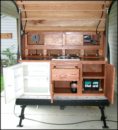 Completed Teardrop Trailer Galley Cabinet